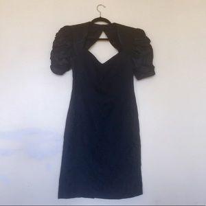 Vintage -open back- padded shoulder dress , LBD